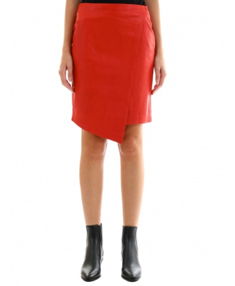 Leather Miniskirt Red