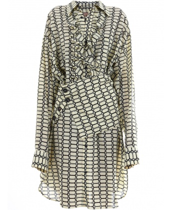 Silk Dress Geometric Print